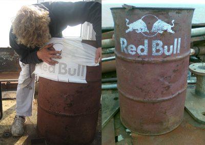 RedBull Folienplot Schablone Ölfass